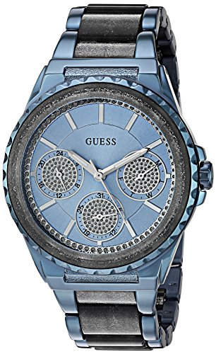 GUESS Women's U0847L1 Sporty Blue Stainless Steel Watch with Multi-function Dial and Blue Pilot Buckle