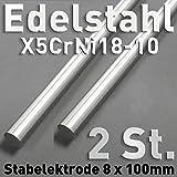 2 Stück Edelstahl-Stab-Anoden aus V2A, Rund Stab Anode 100 x ⌀8 mm Galvanik Elektrolyse Metall
