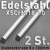 2pieza de acero inoxidable de anoden de acero inoxidable V2A, varilla redonda ánodo 100x ⌀ 8mm galvanoplástica electrólisis metal