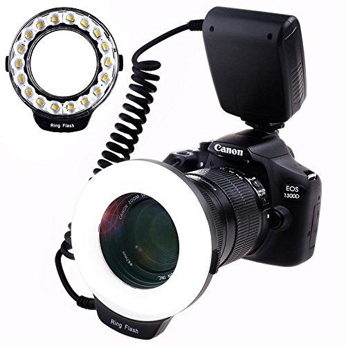 SAMTIAN RF-600D 18 LED Ultra Bright LED Makro Ringblitz,3 fois la luminosité que 48pcs anneau flash,Beleuchtung vielseitig für Makro Fotografie für andere Spiegelreflex kameras Canon Nikon kamera