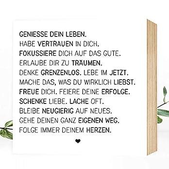 Wunderpixel® Holzbild Genieße dein Leben – 15x15x2cm zum Hinstellen/Aufhängen, echter Fotodruck mit Spruch auf Holz – schwarz-weißes Wand-Bild Aufsteller Zuhause Dekoration/Geschenk-Idee