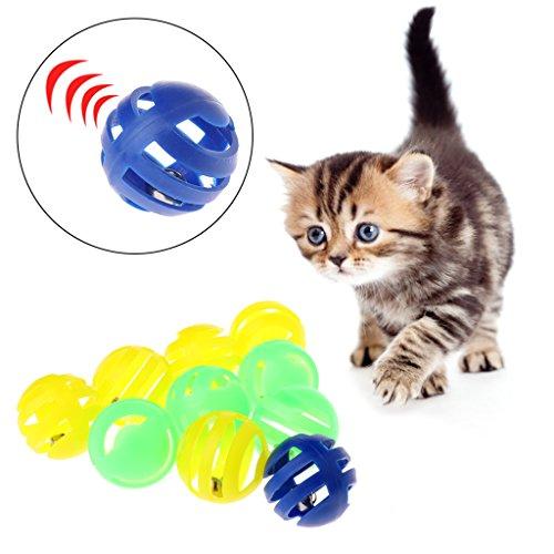 Celan Spielzeug für Katzen, Kunststoff, mit Kleiner Glocke, Durchmesser 3,5 cm, 10 Stück