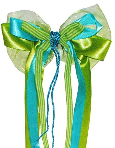 große 3-D Schleife - 23 cm breit u. 60 cm lang - Geschenkschleife / Geschenkband mit edlen Satin Bändern, Chiffon & Kordel - grün / türkis blau / weiß - für Geschenke und Schultüten - groß Schleifenband (Chiffon-mix)