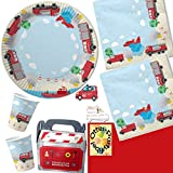 Feuerwehr Party-Set 49tlg. für 6 Kinder : Teller Becher Servietten Einladung Geschenkboxen Tischdecke
