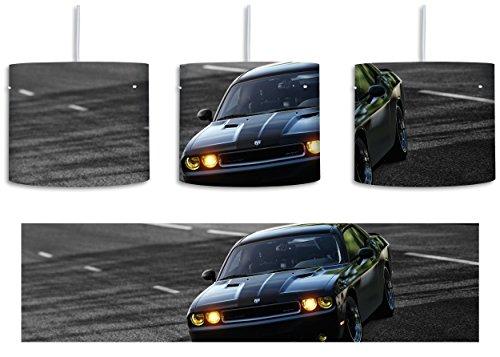 elegante schwarze Dodge Challenger schwarz/weiß inkl. Lampenfassung E27, Lampe mit Motivdruck, tolle Deckenlampe, Hängelampe, Pendelleuchte - Durchmesser 30cm - Dekoration mit Licht ideal für Wohnzimmer, Kinderzimmer, Schlafzimmer