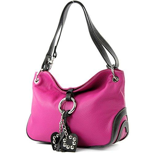 modamoda de - ital. Ledertasche Umhängetasche Crossover Leder Medium Damenhandtasche T10, Präzise Farbe:Pink/Dunkelbraun
