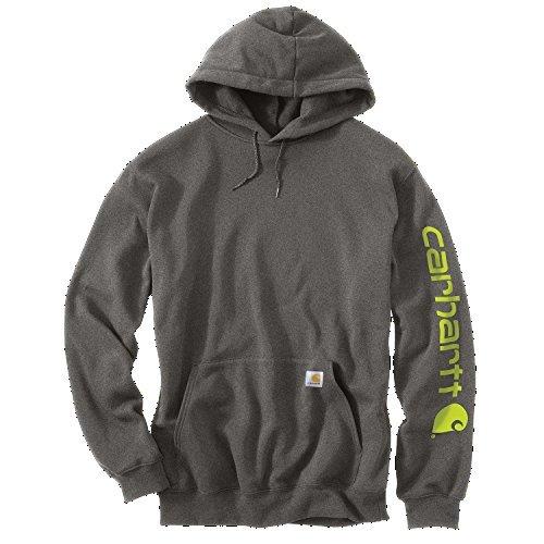 Carhartt Midweight Signature Sleeve Logo Hooded Sweatshirt - Kapuzenpullover K288 (XL, Charcoal Heather) (Midweight Baumwolle Pullover)