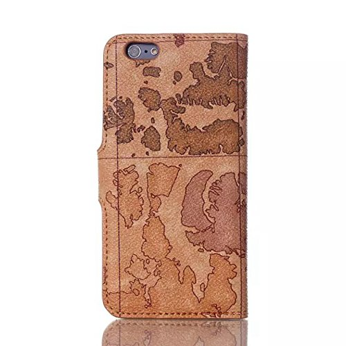 JIALUN-Telefon Fall Multifuntional Stand Case Map Pattern Pu Ledertasche Cover für IPhone 6 6S ( Color : 3 , Size : Iphone 6 6s ) 1