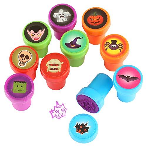 Kesoto Conjunto de Sellos para Niños en Estilo de Halloween Sellos Plásticos Multicolores Auto Entintado Perfecto para Bricolaje (Juego de 10 Piezas)