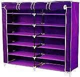 #5: Foldable Shoerack Closet Wardrobe Portable Storage Organizer With Shelves | A Multi Purpose Almirah (Purple)