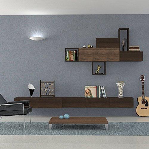 Ve.ca-italy parete attrezzata soggiorno althea, living, arredo casa, in diverse colorazioni (wengè - noce)