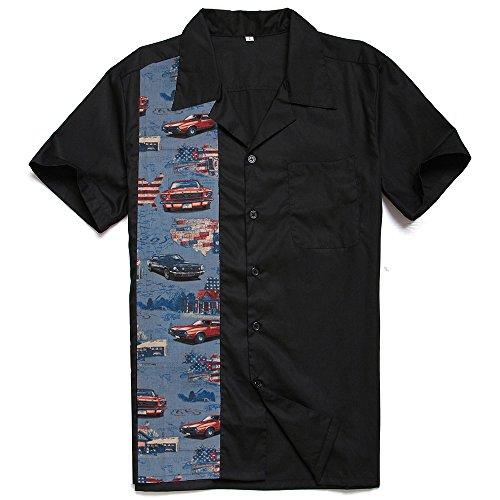 Candow Look Hombres Negro Rockabilly Retro Botš®n Americano Classic Car Acampar Camisas