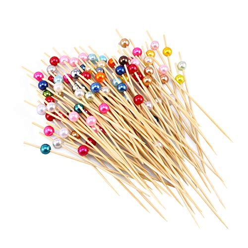BESTONZON 100 Stücke Bambus Cocktailspieße Partypicker Partyspieße Cocktail Picks Party Zahnstocher für Fingerfood Obst Snacks 12cm (Bunte Perle)