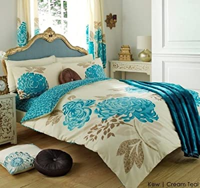 3pc Kew Cream & Teal King Size Bedding Bed Duvet Cover Quilt Set With Pillowcases