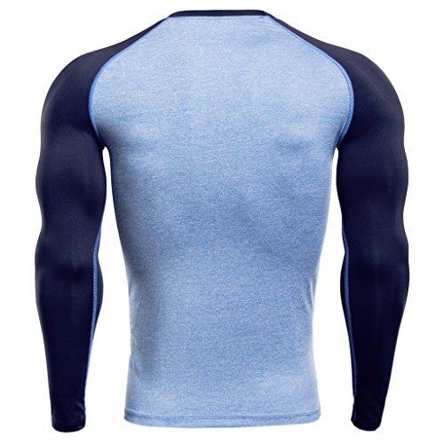 Jiayiqi Herren Kompression Baselayer Langarm Top Sport Fast Dry Shirts royalblau