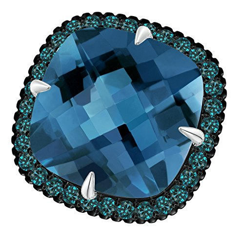 Angara.com - 14 Kt Weißgold Kissenschliff London Blue Topaz (Weissgold Blue London Ring Topas In)