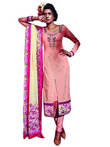 Kanchnar Women's Georgette and Santoon Embroidered Peach Party Wear Salwar Suit