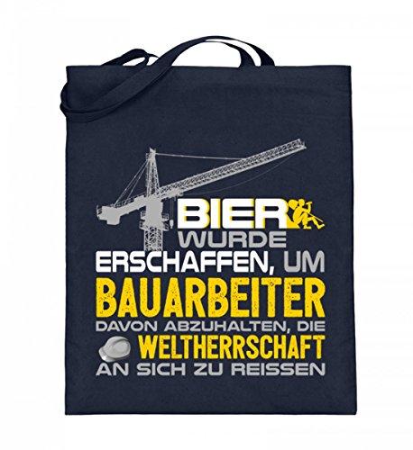 Hochwertiger Jutebeutel (mit langen Henkeln) - Bau - Bier wurde für Bauarbeiter gemacht Dunkelblau