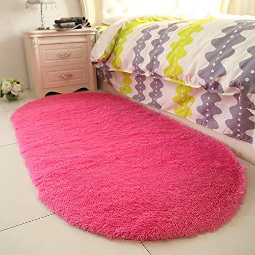 Rose Oval Teppich (SED Teppich-Modern minimalistischen Schlafzimmer Mats Wohnzimmer Familienzimmer Schöne Mädchen Teppich Nachttisch Oval Teppich Eingangshalle Veranda Wasseraufnahme schnell trocknend,120 * 200 cm,Rose)