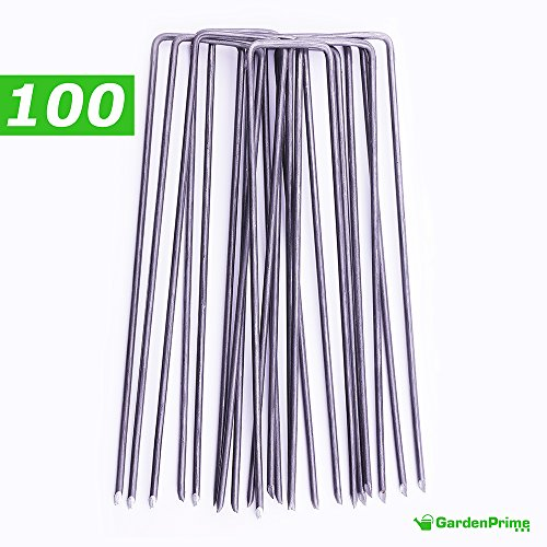 GardenPrime Erdanker 150mm lang, 25mm breit aus Stahldraht Stärke 2,8mm, 100 Stück