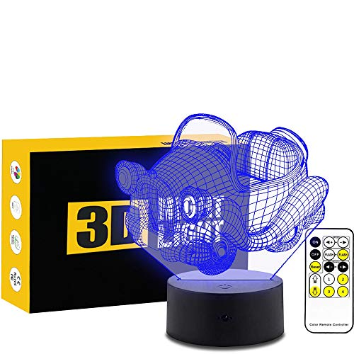 Leisurely Lazy Mini Car 3D Optical Illusion Table Lamp 7 Colors Change Touch Button and 15 Keys Remote Control LED Light Decor Car Remote Key Mini