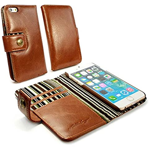 Alston Craig custodia / portafogli di pelle 'Vintage' per Apple iPhone 6 (con protettore di schermo) - marrone
