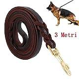 Guinzaglio per Cani Intrecciato in Cuoio Vero Corda di 3 metri per Cane Grande o Medio Regolabile di Addestramento