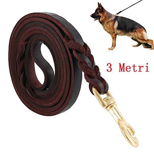 Guinzaglio per Cani Intrecciato in Cuoio Vero Corda di 3 metri...
