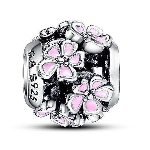 Glamulet Bijoux Argent sterling 925en émail rose Bouquest Charm perle bracelet Pandora