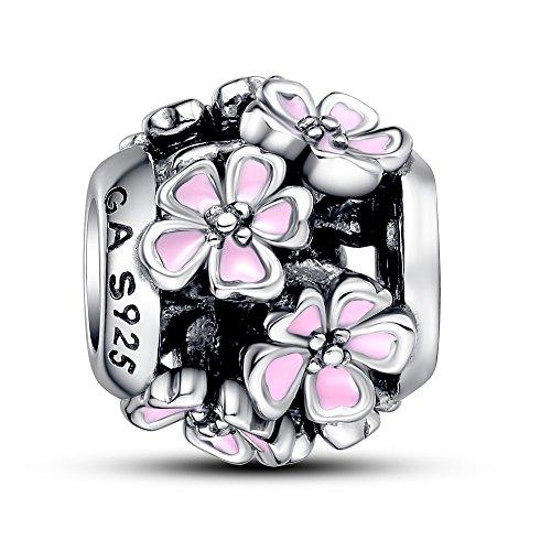 Sterling Silber Rosa Emaille bouquest Charm Bead für Pandora Armband (Hausschuhe Für Mädchen Auf Verkauf)