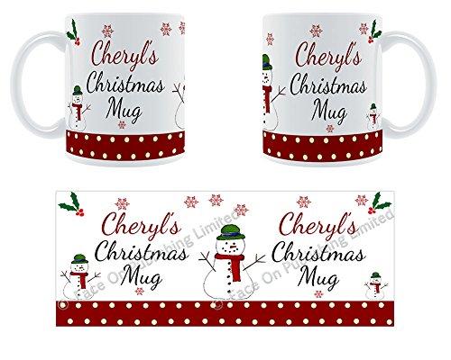 Cheryl'Weihnachten Becher, Tasse, Keramik, personalisiert, Name -