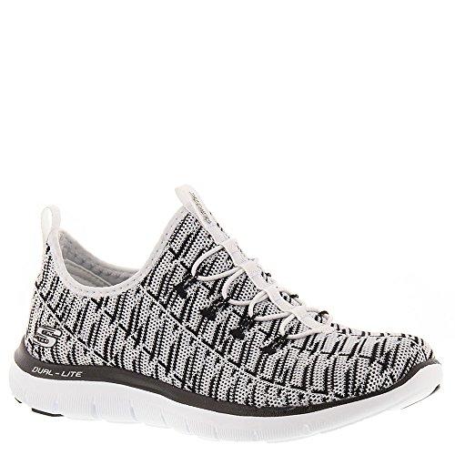Skechers Women's Flex Appeal 2.0 – Insights – Wide White/Black Casual Shoe 6.5 Wide Women US