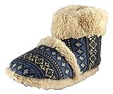 Brand neuer Stil Cooler Hausschuhe Huttenschuh Flauschiger Pelzkragen mit Fairisle Muster (Blau) 43-45