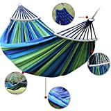Jukkre Double 2 Person Cotton Fabric Canvas Travel Hammocks 450 lbs Ultralight Camping Hammock Portable Beach Swing Bed with Hardwood Spreader Bar Tree Hanging (Blue, 280x 100 cm)