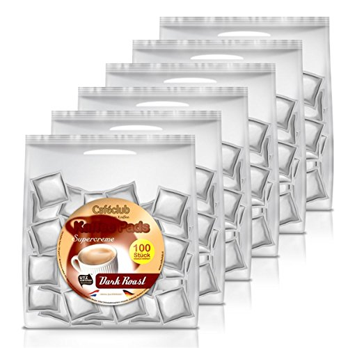 6x Cafeclub Dark Roast Kaffeepads Megabeutel je 100 stk. dunkle Röstung einzeln verpackt
