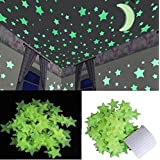 Stickonn Green Colour Fluorescent Glow in The Dark Star Wall Sticker(50 Stars and 1 Moon,Size: 3.8x3.8 cm)