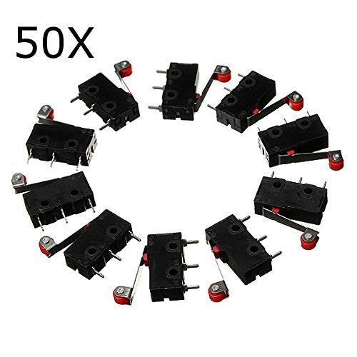 ILS - 50 Stück KW12-3 Micro-Endschalter mit Rollenhebel Öffnen / Schließen-Schalter 5A 125V (Schließen Endschalter)
