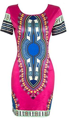 LHWY Damen Traditionelle afrikanische Print Dashiki Figurbetonten Sexy Kurzarm Kleid (S, Hot pink)