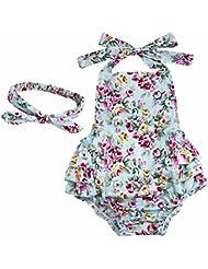 YIZYIF S-L Bebé Niñas Estampado Cereza Floral Volantes Mameluco Vestido De Verano Cinta De Cabeza Conjunto Para 6-24 Meses