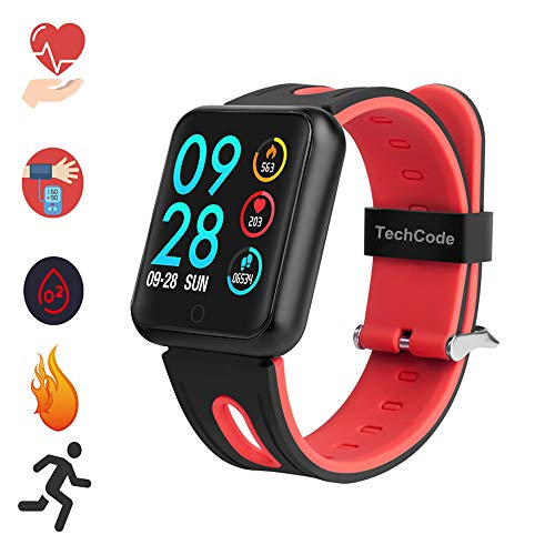 TechCode Bluetooth Smartwatch für Handy, Farbdisplay Smart Watch mit Pulsmesser Schlaf Sportaktivität Fitness Tracker IP68 wasserdichte Intelligente Smartwatch für Frauen Teens (JD-Rot)