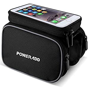 Poweradd Bolsa de Bicicleta Ciclismo, Bolsa Sillines Alforja Bolso Delantero del Tubo con Pantalla Táctil Impermeable para Teléfonos Móviles-Negro