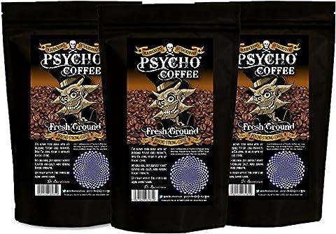 Psycho Coffee -Frisch gemahlener Psycho starker Kaffee - 3 x 250g Beutel