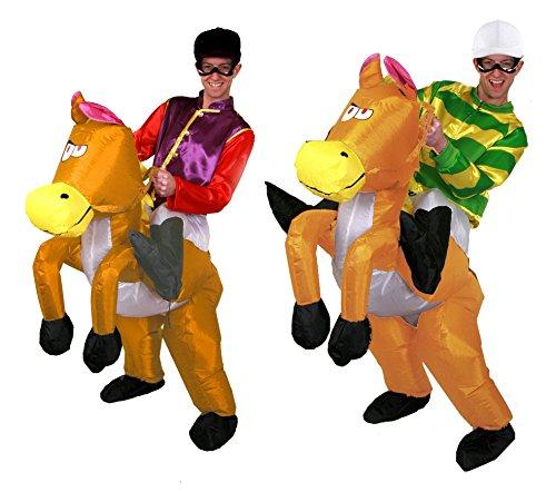 Erwachsenen Pferd Kostüme Jockey (ERWACHSENE JOCKEY-KOSTÜM INKL. JACKEUND HUT + BRILLE+AUFBLASBAR PFERD JUNGGESELLENABSCHIED ERHÄLTLICH IN 2 STILE: GRÜN UND GELB GESTREIFT REIßVERSCHLUSS JACKE & ROT UND VIOLETT GEKNÖPFT)