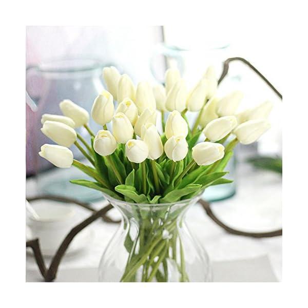 Ramo de flores artificiales, ramo de tulipanes de flores artificiales de tacto real, decoración del hogar (blanco), amarillo, Tamaño libre