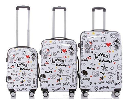 LOVES-valise à roulettes à coque rigide, avec au choix de 3 pièces-taille l ou m-trolley-light 4 roulettes xL, multicolore (Multicolore) - BEI-V2060-LO