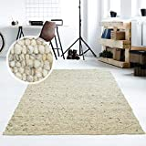 Taracarpet Moderner Handweb Teppich Alpina handgewebt aus Schurwolle für Wohnzimmer, Esszimmer, Schlafzimmer und die Küche geeignet (090 x 160 cm, 63 Grau Beige meliert)
