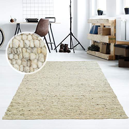 Taracarpet Moderner Handweb Teppich Alpina handgewebt aus Schurwolle für Wohnzimmer, Esszimmer, Schlafzimmer und die Küche geeignet (070 x 130 cm, 63 Grau Beige meliert)