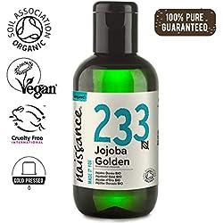 Naissance Aceite Vegetal de Jojoba Dorada BIO n. º 233 - 250ml - Puro, natural, certificado ecológico, prensado en frío, vegano, sin hexano y no OGM - Humecta y equilibra la piel.