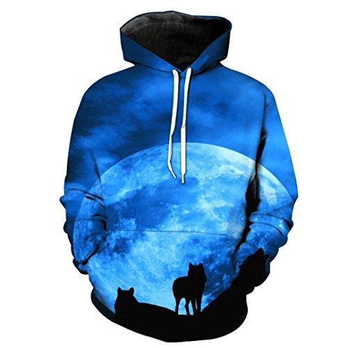 3D Gedruckte Hoodie Sweatshirt Herren Damen,DoraMe Männer Frauen Lange ärmel Kapuze Pullover Wolf Print Bluse Frühling Herbst Shirt Lässig Sport Hemd (A - Blau, XL) (Leinen-mischung-jacke)