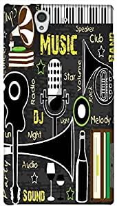Timpax Hard Back Case Cover Printed Design : Music in our town.For Sony L36-H ( Sony 36 )